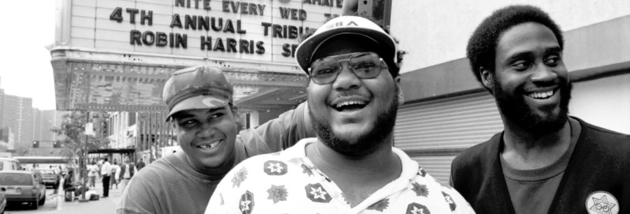 David Jude Jolicoeur aka Trugoy (from left), Vincent Mason aka P.A. Mase and Kelvin Mercer aka Posdnuospose for a portrait outside the Apollo Theater in Harlem in September 1993